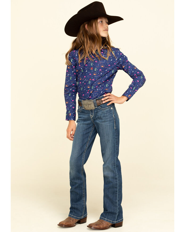 Cruel Girl Girls' Novelty Print Snap Long Sleeve Western Shirt, Navy, hi-res