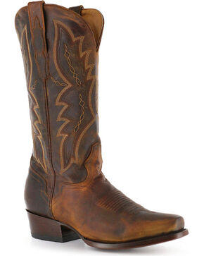El Dorado Men's Distressed Goat Square Toe Western Boots, Brown, hi-res