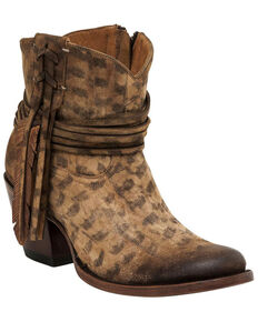 Lucchese Women's Robyn Hand Tooled Feather Booties, Tan, hi-res