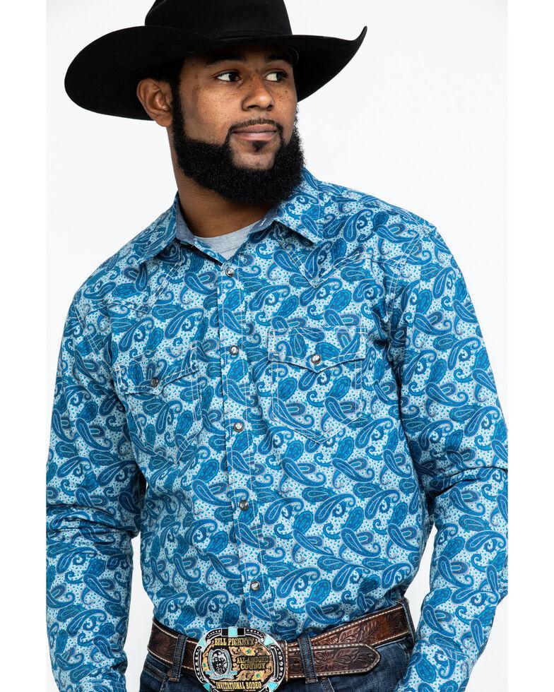 Cody James Men's Roy Grandstand Paisley Print Long Sleeve Western Shirt - Big , Royal Blue, hi-res