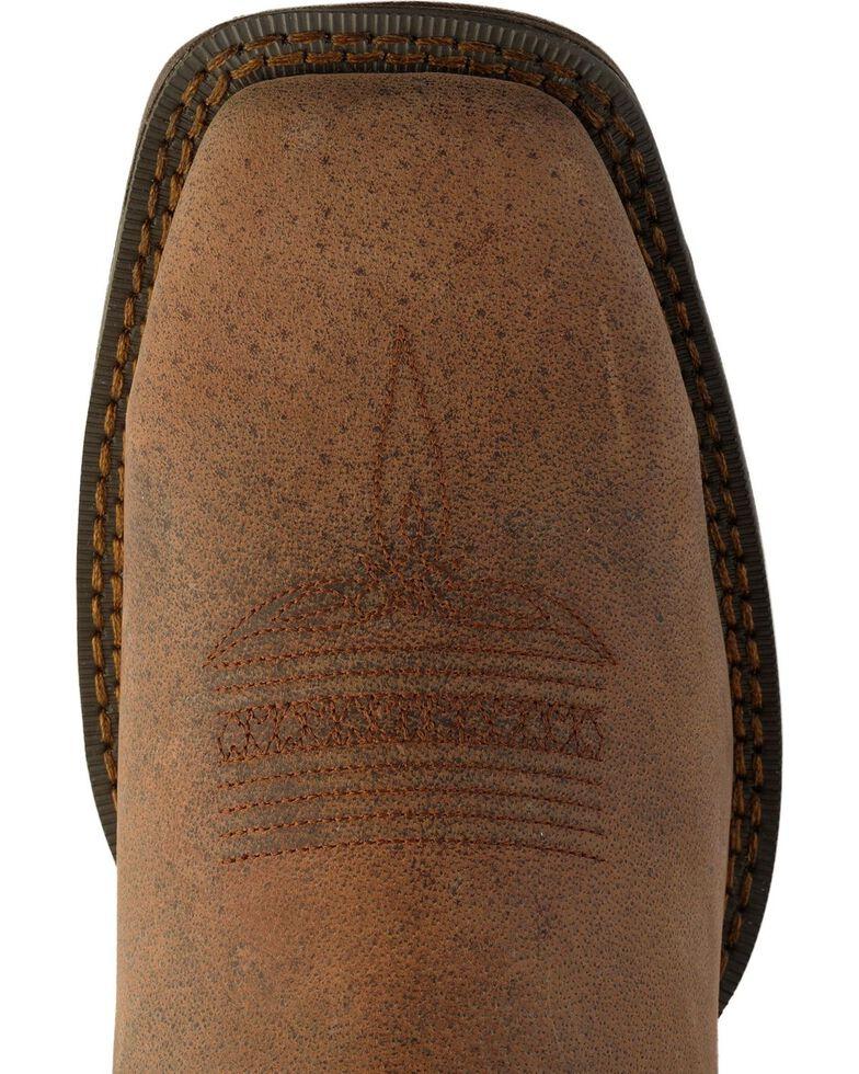 Rebel by Durango Men's Steel Toe American Flag Western Work Boots, Brown, hi-res