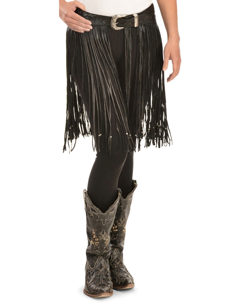 Kobler Leather Women's Hand-Tooled Beaded Fringe Belt, Black, hi-res
