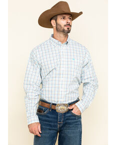 Cinch Men's White Med Plaid Long Sleeve Western Shirt , White, hi-res
