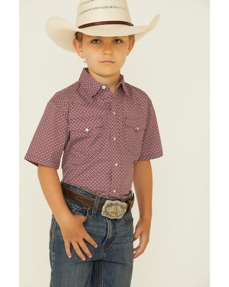 Roper Boys' Aztec Puzzle Geo Print Short Sleeve Snap Western Shirt , Burgundy, hi-res