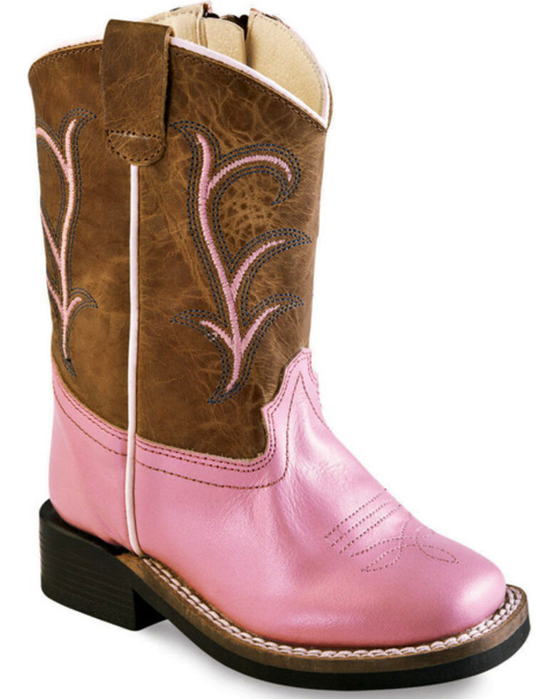 Old West Toddler Girls' Pink Leather Boots - Square Toe, Pink, hi-res