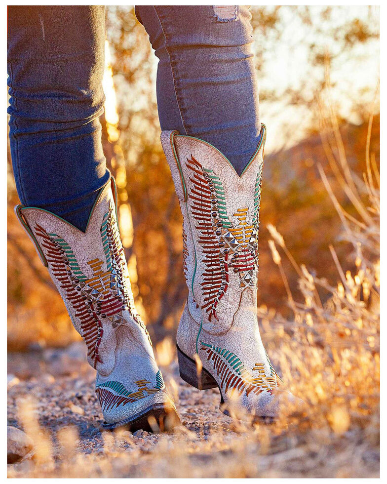 Old Gringo Women's Harper Hand Woven Cowgirl Boots - Snip Toe , White, hi-res