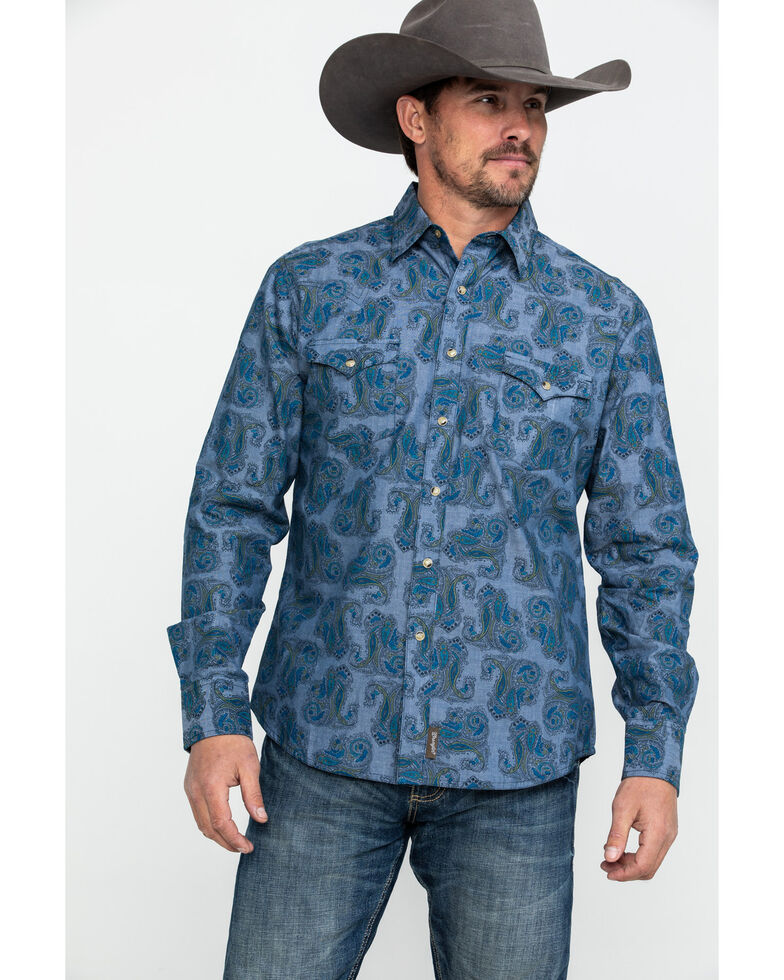 Wrangler Retro Men's Large Paisley Print Long Sleeve Western Shirt , Blue, hi-res