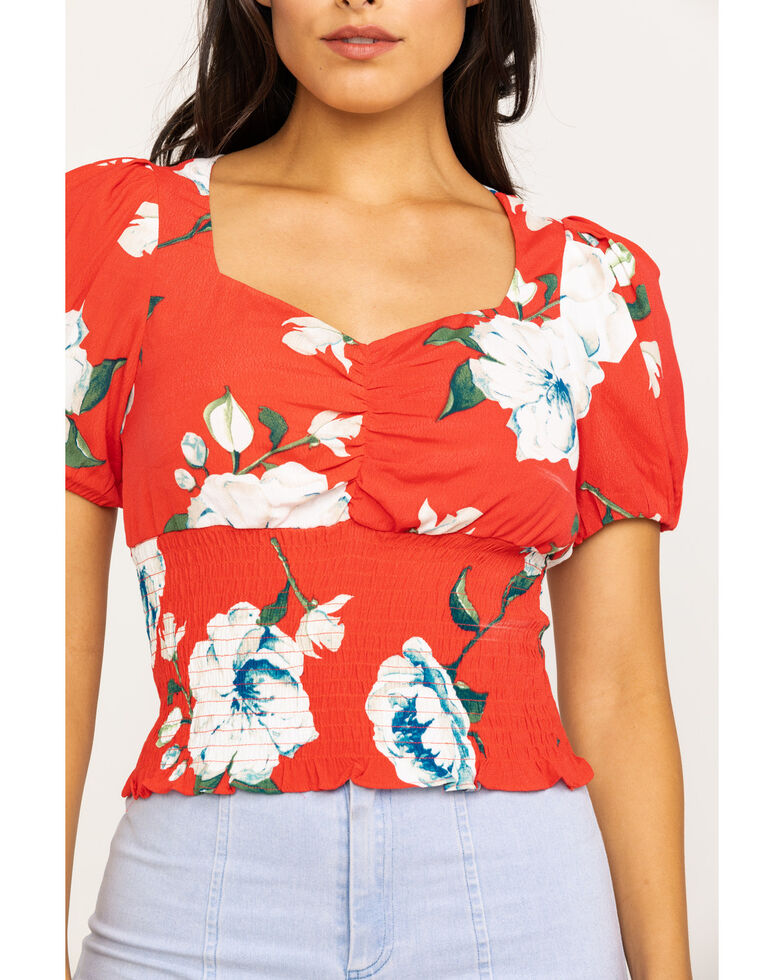 Miss Me Women's Red Floral Puff Sleeve Crop Top, Red, hi-res