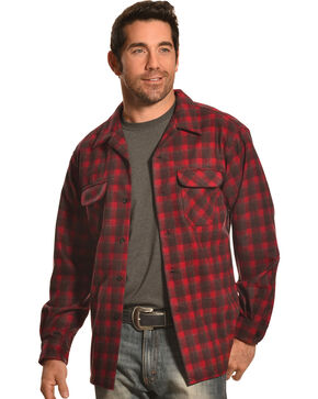 Pendleton Men's Dark Red Wool Plaid Board Shirt , Red, hi-res