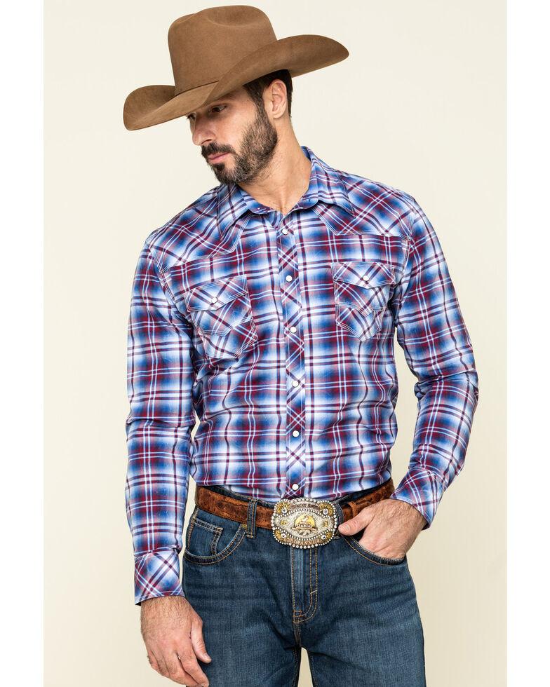 Rock & Roll Cowboy Men's Ombre Crinkle Plaid Long Sleeve Western Shirt , Blue, hi-res