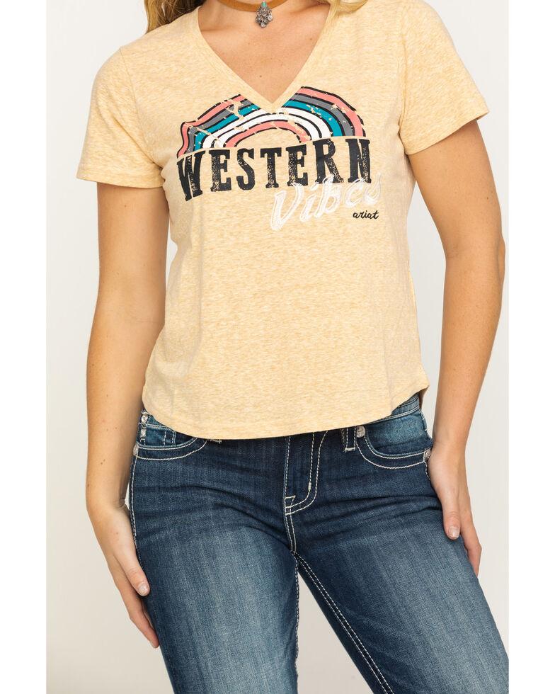 Ariat Women's Mustard Western Vibes V-Neck Graphic Tee, Dark Yellow, hi-res