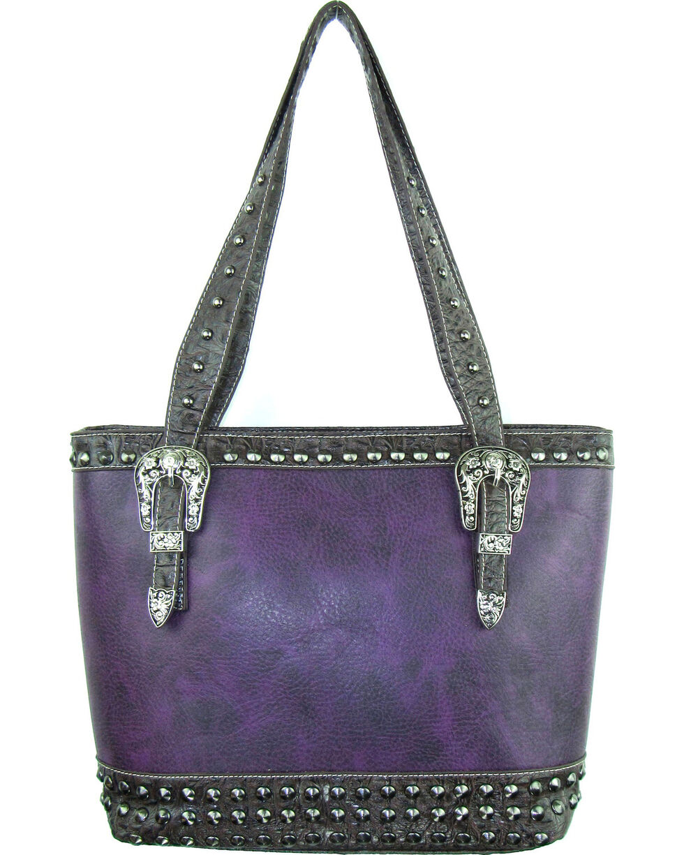 Savana Women's Purple Concealed Carry Tote Bag with Croco Trim, Purple, hi-res