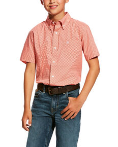 Ariat Boys' Harsley Stretch Geo Print Short Sleeve Western Shirt , Peach, hi-res