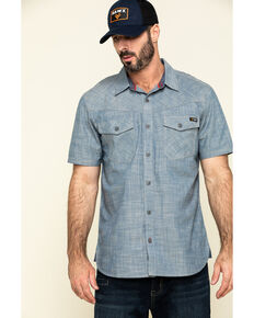 Hawx Men's Rancho Chambray Solid Short Sleeve Work Shirt - Tall , Blue, hi-res
