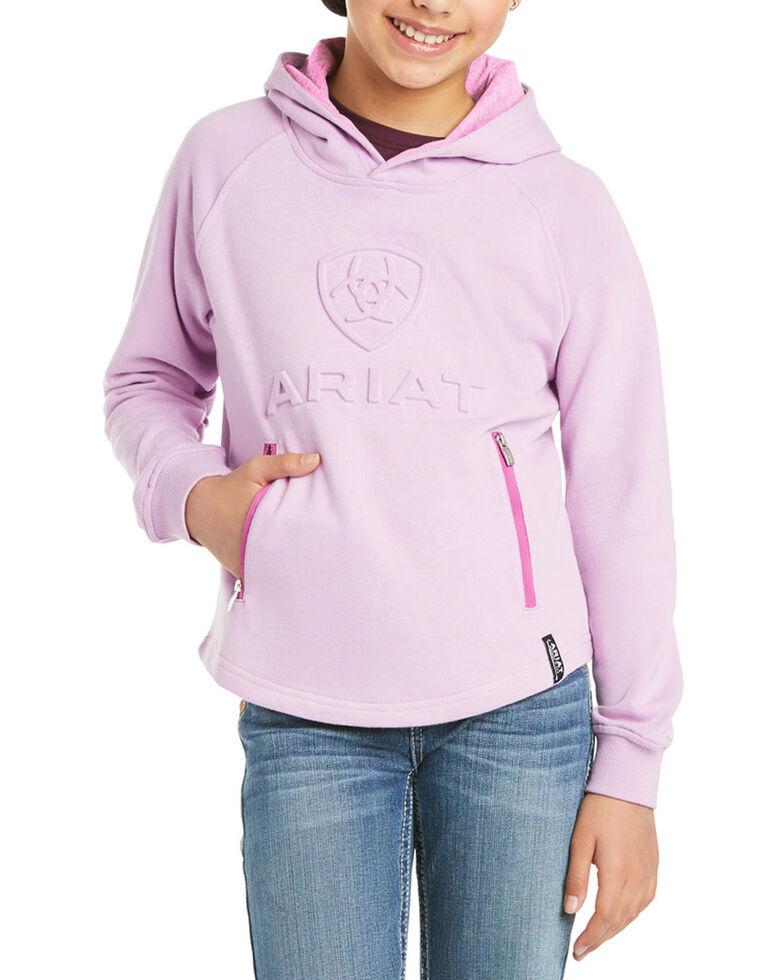 Ariat Girls' Violet Tulle 3D Logo Graphic Hoodie, Violet, hi-res