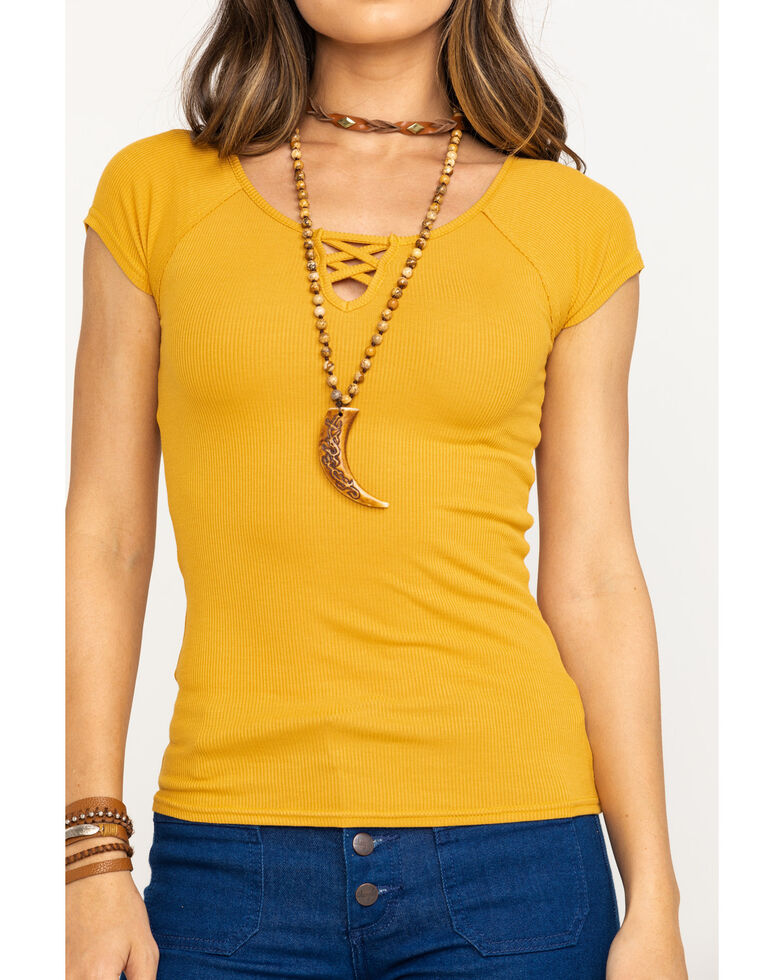 Shyanne Women's Lace Up Short Sleeve Tee, Dark Yellow, hi-res