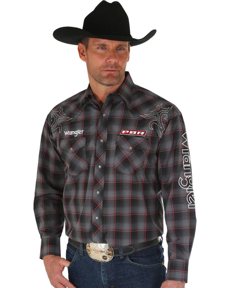 Wrangler Men's Black PBR Logo Western Shirt , Black, hi-res