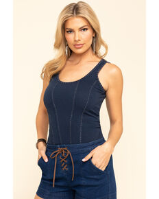 Idyllwind Women's Corset Me Not Tank Top , Navy, hi-res