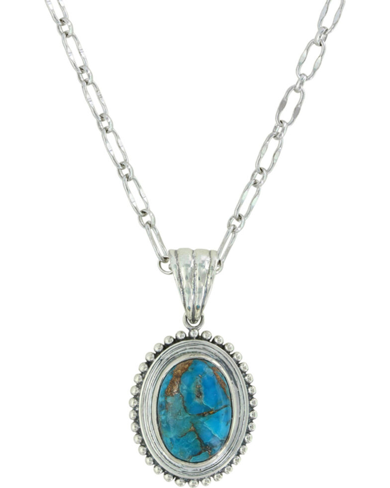 Sterling Lane Women's Copper Earth Turquoise Necklace , Silver, hi-res