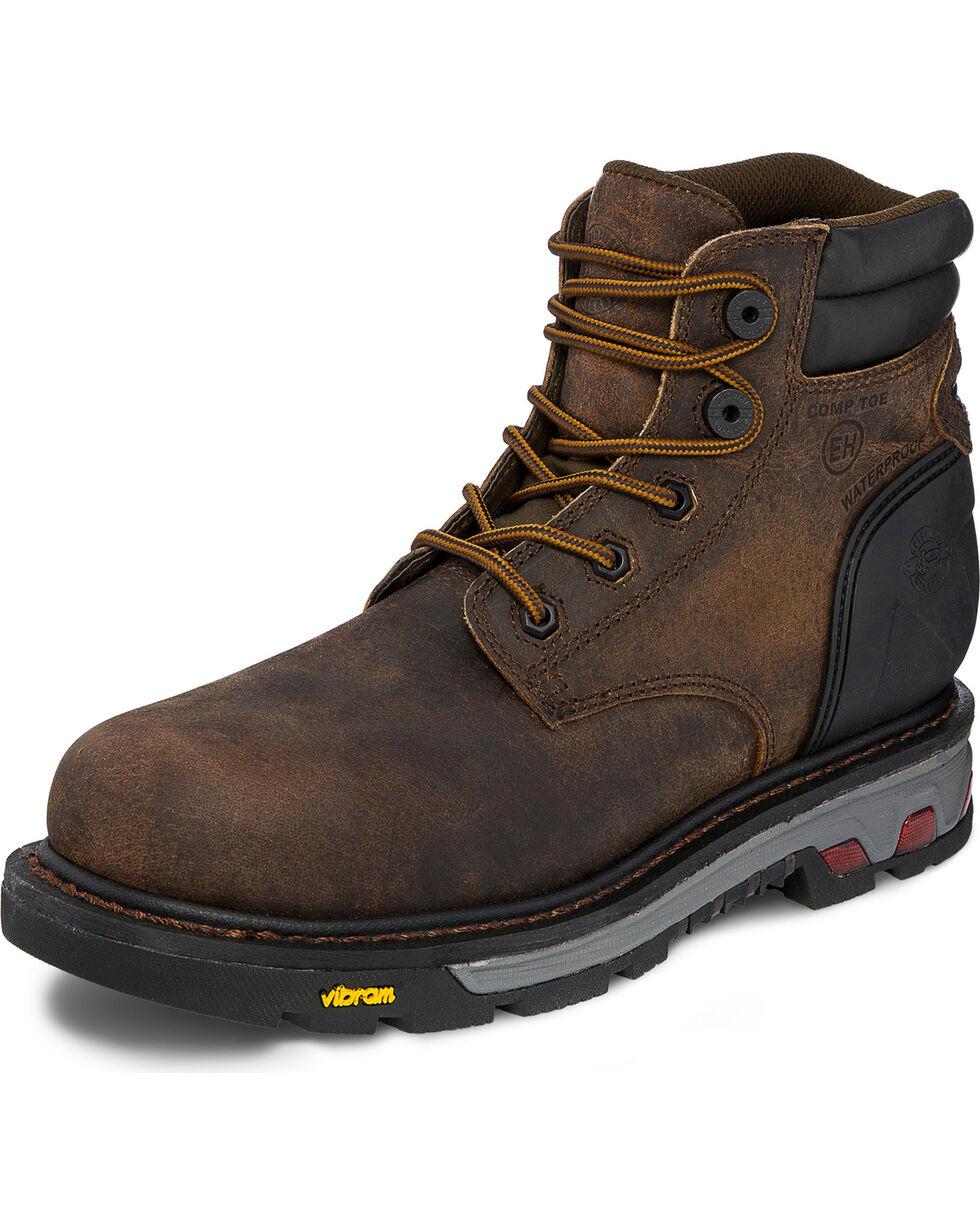 Justin Men's Drywall Waterproof Work Boots, Brown, hi-res