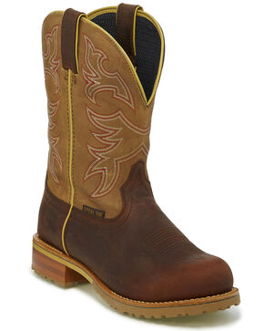Justin Men's Herdsman Western Work Boots - Steel Toe, Brown, hi-res