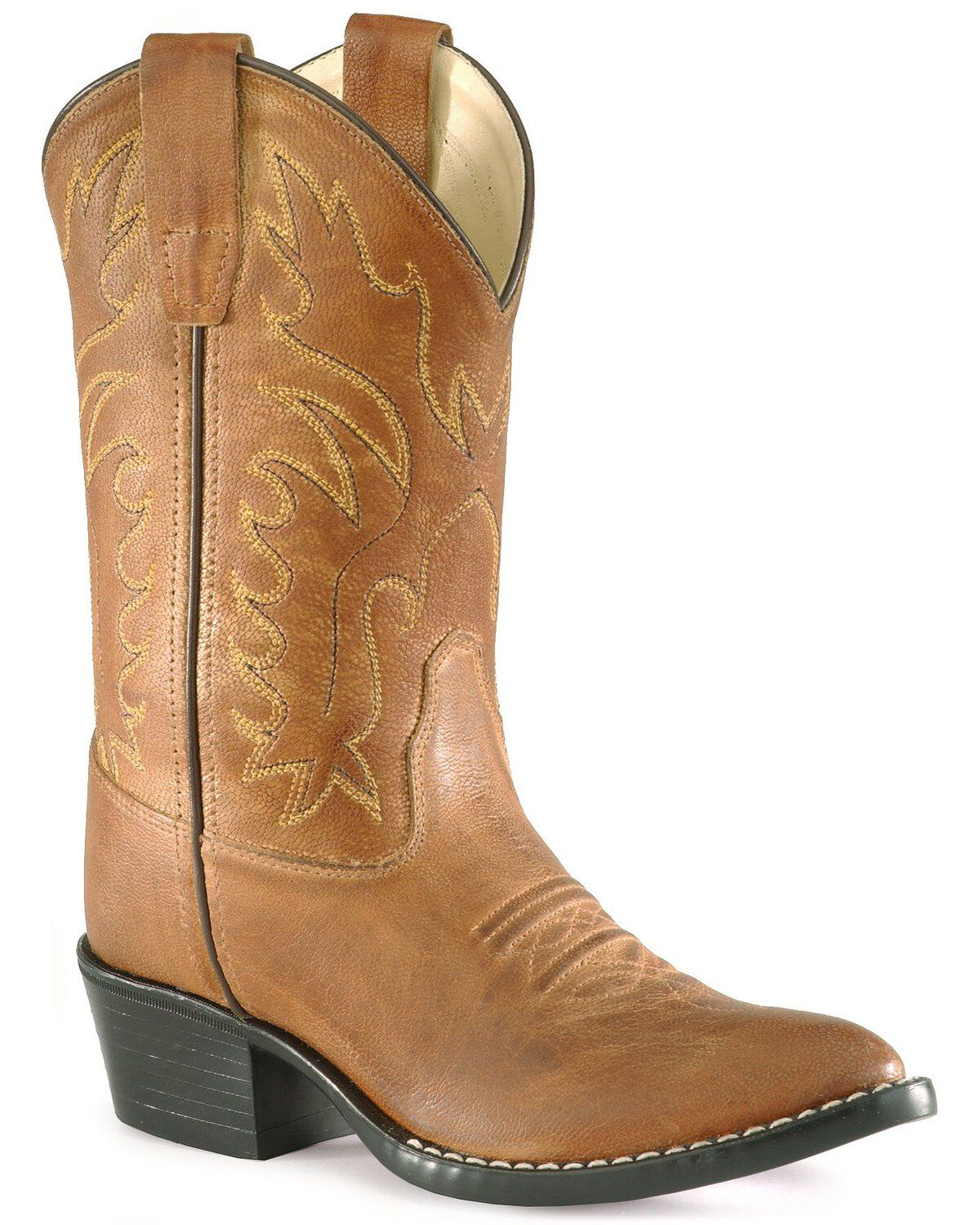 Old West Orange//Brown Childrens Boys Leather Western Cowboy Boots