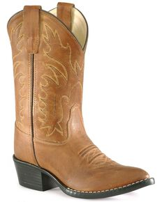 Old West Boys' Cowboy Boots - Pointed Toe, Tan, hi-res