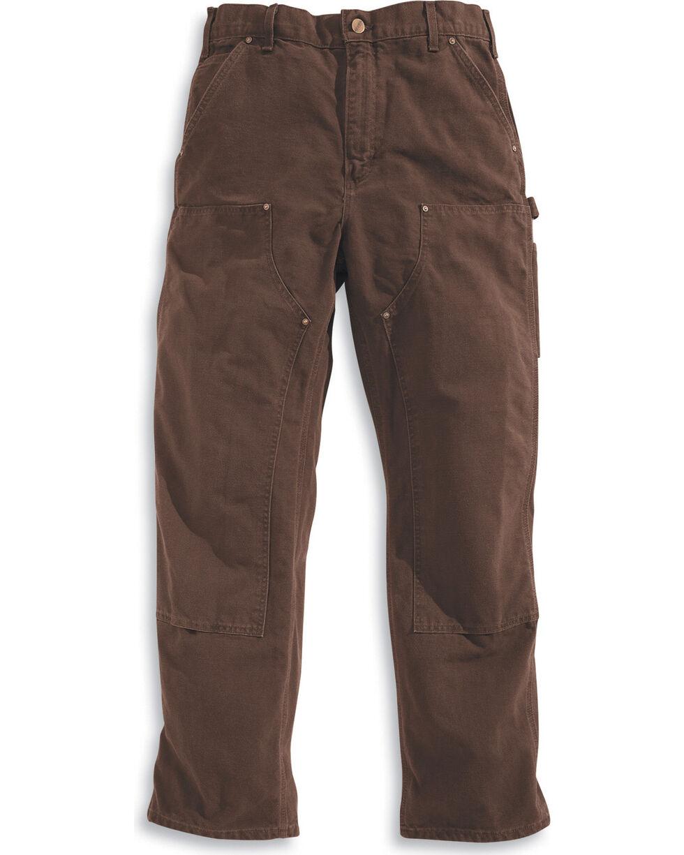 Carhartt Men's Double Front Washed Dungaree work Pants, Dark Brown, hi-res