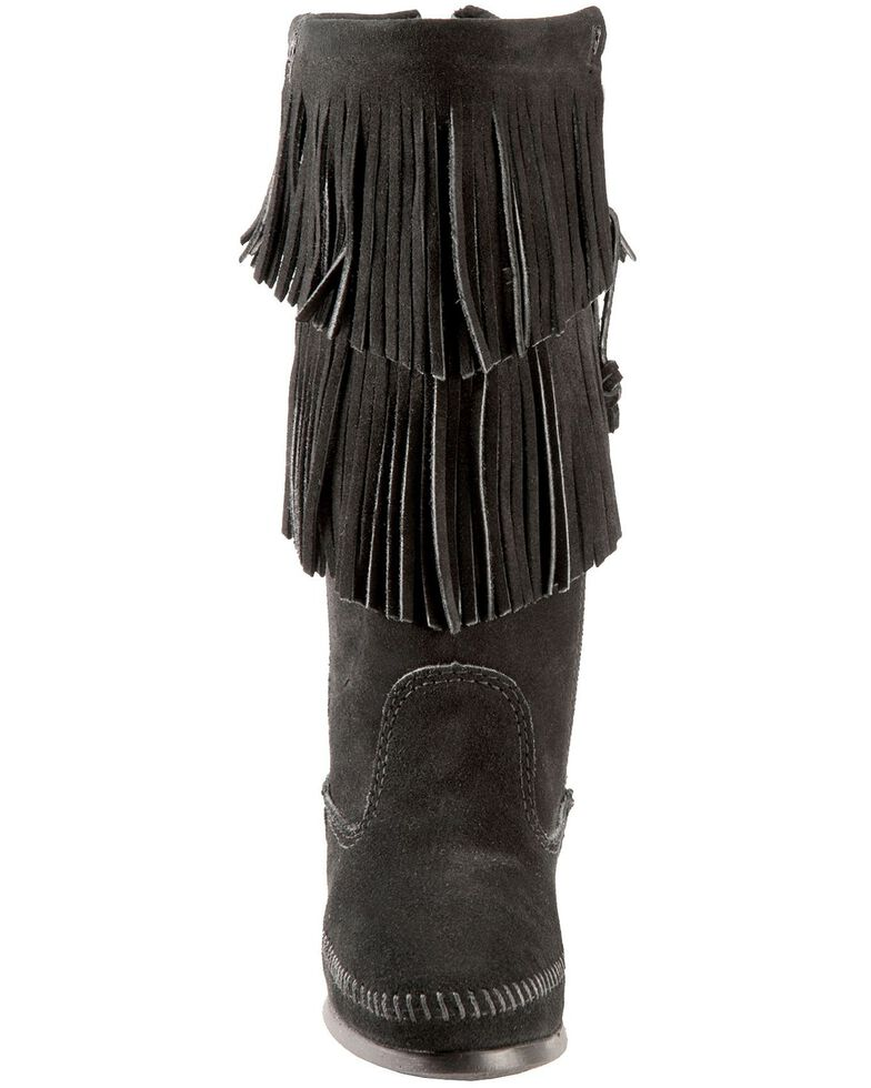 Minnetonka Layered Fringe Moccasins, Black, hi-res