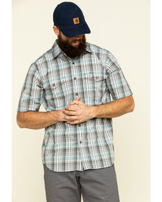 Carhartt Men's Salt Water Blue Plaid M-Force Relaxed Short Sleeve Work Shirt , Blue, hi-res