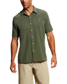 Ariat Men's TEK Solitude Button Down Short Sleeve Shirt , Green, hi-res