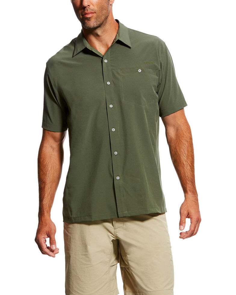 Ariat Men's TEK Solitude Button Down Short Sleeve Shirt , Green, hi-res