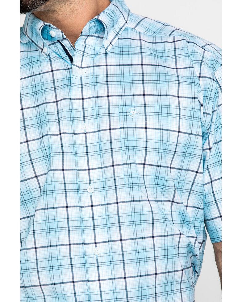 Ariat Men's Larkspur Med Plaid Short Sleeve Western Shirt - Tall , Blue, hi-res