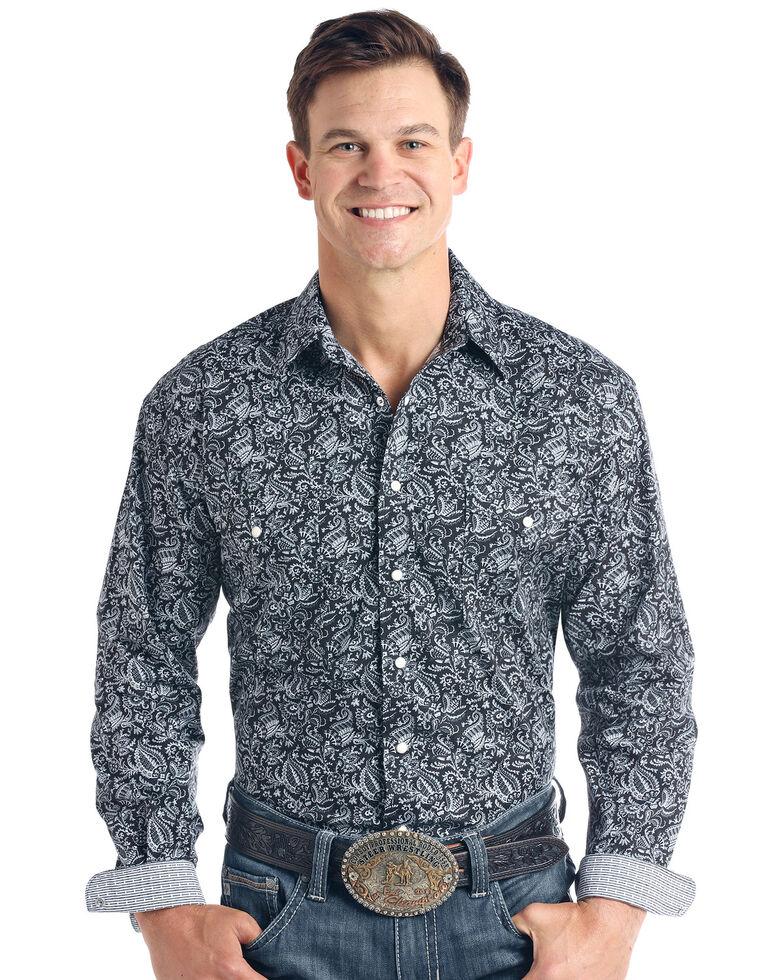 Rough Stock By Panhandle Men's Verano Paisley Print Long Sleeve Western Shirt - Big , Black, hi-res