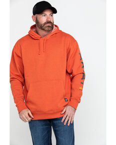 Ariat Men's Volcanic Heather Rebar Graphic Hooded Work Sweatshirt , Heather Orange, hi-res