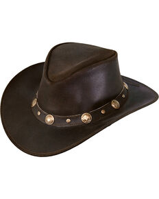 Outback Trading Men's Rawhide Leather Hat, Chocolate, hi-res