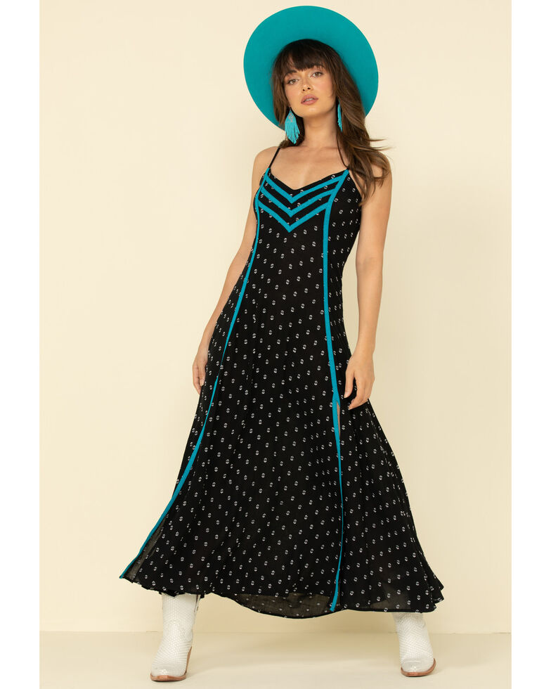 Idyllwind Women's Bluegrass Maxi Dress, Black/turquoise, hi-res