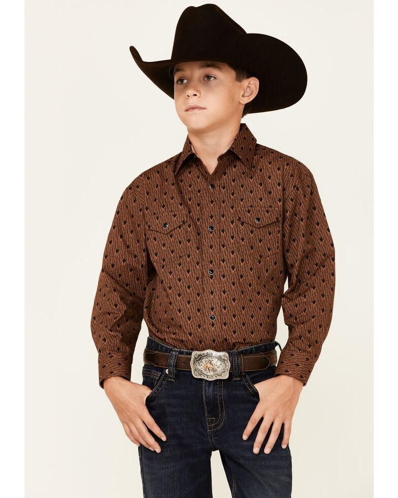 Panhandle Select Boys' Copper Diamond Geo Print Long Sleeve Snap Western Shirt , Rust Copper, hi-res
