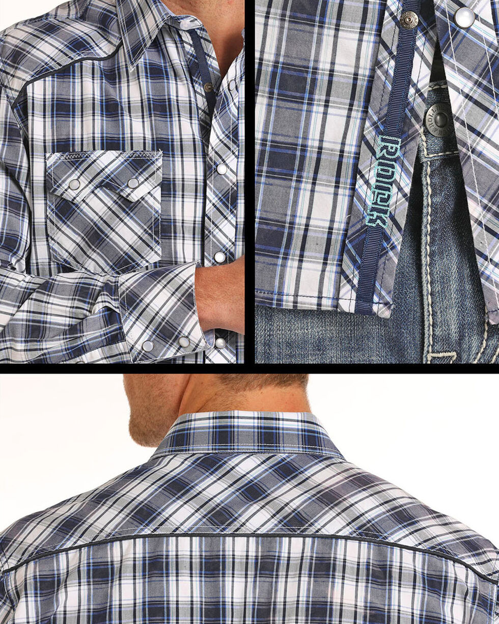 Rock & Roll Cowboy Men's Bleach Washed Plaid Long Sleeve Shirt, Blue, hi-res