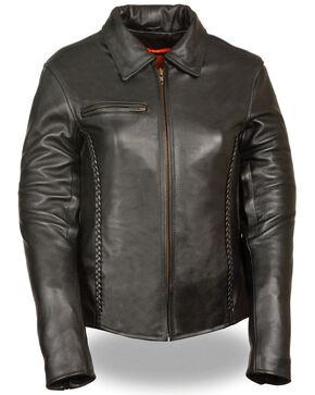 Milwaukee Leather Women's Shirt Collar Braided Leather Jacket, Black, hi-res