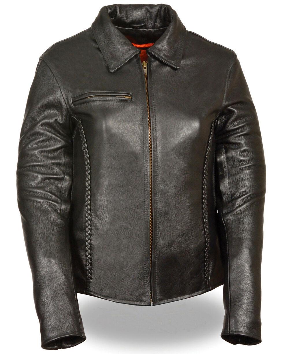 Milwaukee Leather Women's Shirt Collar Braided Leather Jacket - 4X, Black, hi-res