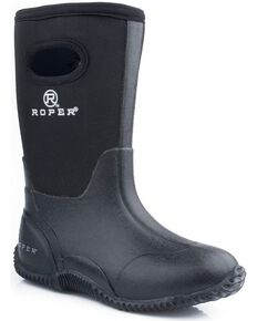 Roper Kid's Neoprene Barnyard Boots, Black, hi-res