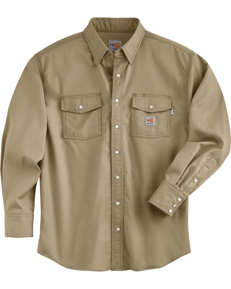 Carhartt Men's Flame Resistant Snap Front Shirt, Beige, hi-res