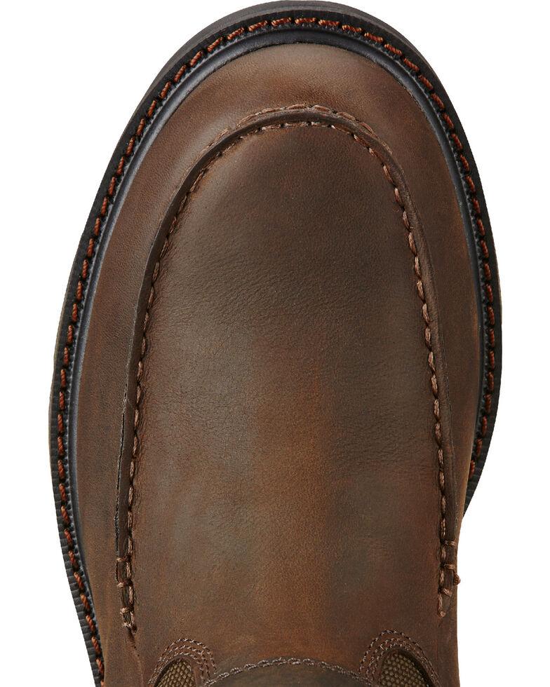 Ariat Men's Groundbreaker Moc Toe Work Boots, Dark Brown, hi-res