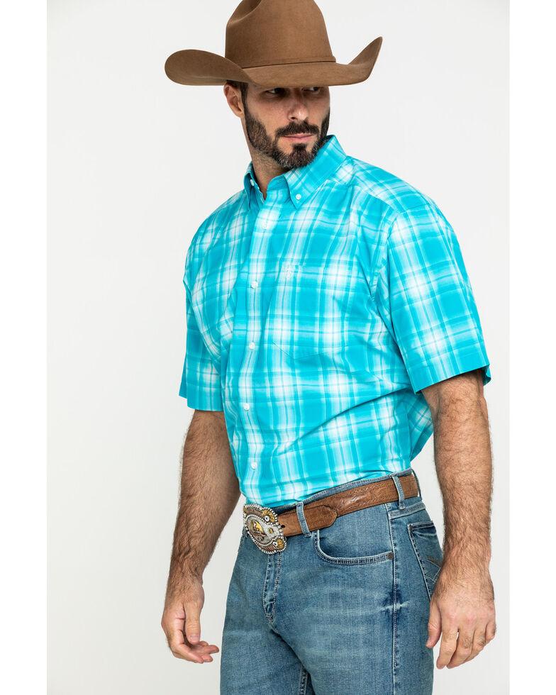 Ariat Men's Kentfield Med Plaid Short Sleeve Western Shirt - Big , Blue, hi-res