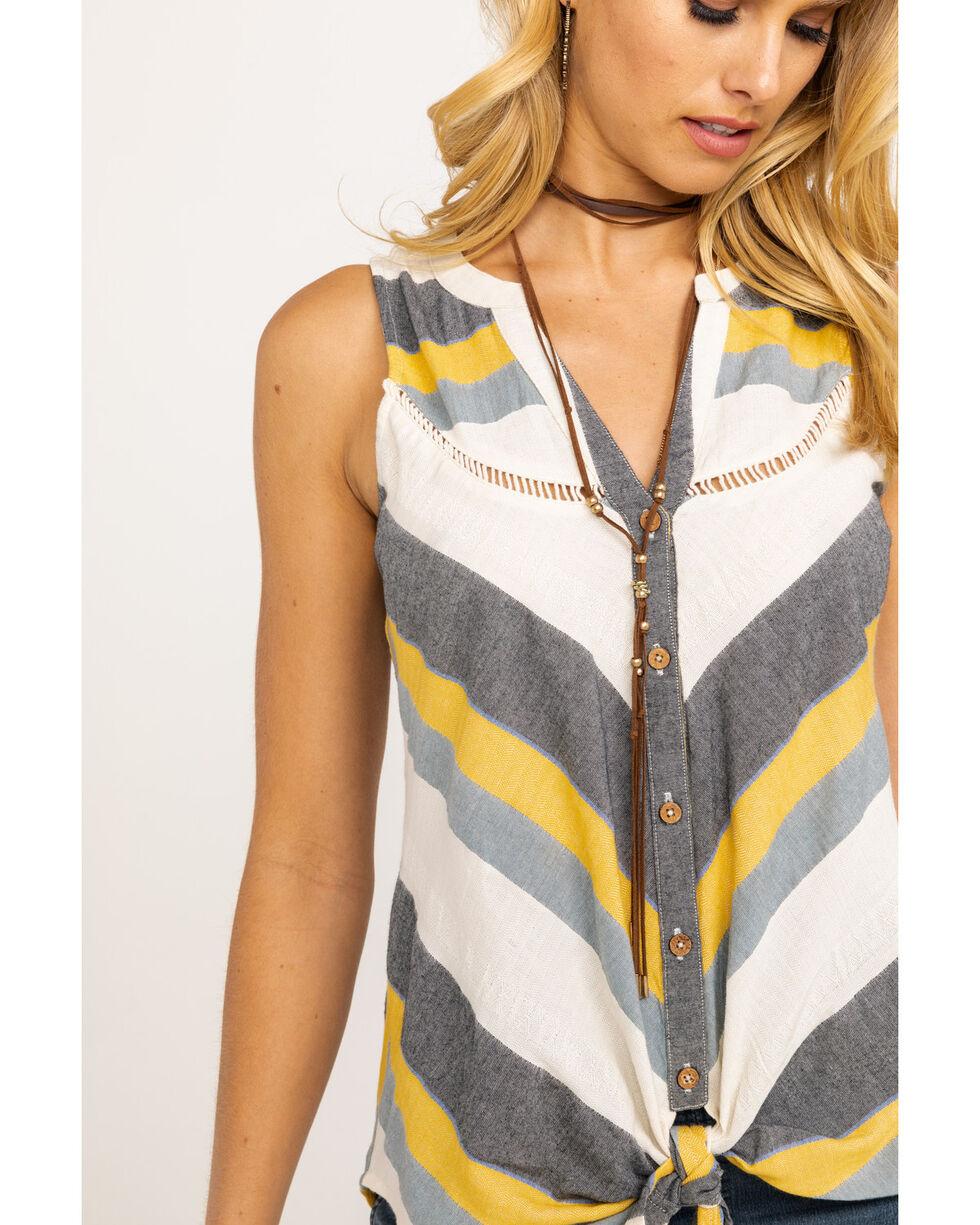 Shyanne Women's Mustard & Grey Stripe Tie-Up Sleeveless Top, Dark Yellow, hi-res