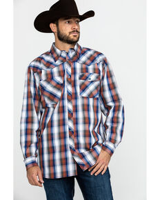 Cowboy Hardware Men's Multi Large Plaid Long Sleeve Western Shirt , Orange, hi-res