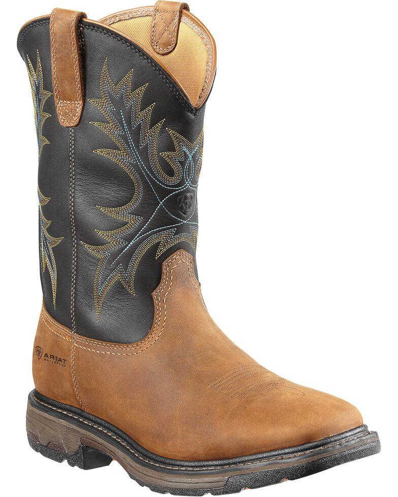 Ariat Men's Workhog H2O Waterproof Western Work Boots, Aged Bark, hi-res