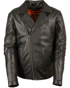 Milwaukee Leather Men's Triple Stitch Extra Long Biker Jacket - 5X , Black, hi-res