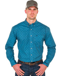 Noble Outfitters Men's Heirloom Blue Geo Print Long Sleeve Western Shirt , Blue, hi-res